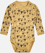 Hust & Claire Baby Body Wolle Bo mit Pinguinen Banana gelb