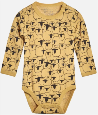 Hust & Claire Baby Body Wolle Bo mit Pinguinen Banana gelb 74